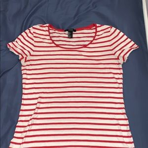 red and white striped tee shirt forever 21